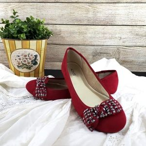 Alfani Amor Red Flats w/Beaded Bow Casual Shoes